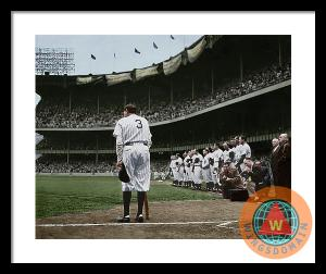 Babe Ruth The Sultan Of Swat Retires At Yankee Stadium Colorized Framed Print By Wingsdomain Art And Photography