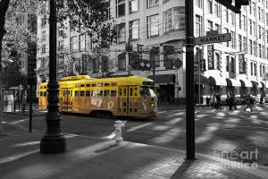 San Francisco Vintage Streetcar On Market Street . By Wingsdomain.com Art And Photography