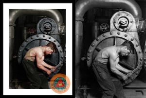 Power House Mechanic Working On Steam Pump By Lewis Hine Colorized By Wingsdomain Art And Photography