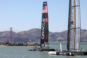 Americas Cup In The San Francisco Bay - Oracle Team USA 4 And Koreas White Tiger . By Wingsdomain.com Art And Photography