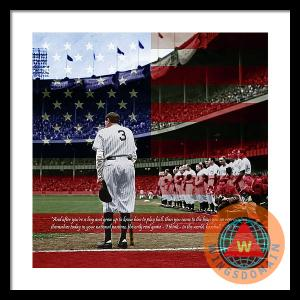 Babe Ruth Baseball Americas Pastime With Quote Colorized By Wingsdomain Art And Photography