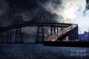 Full Moon Surreal Night At The Bay Area Richmond-San Rafael Bridge . By Wingsdomain.com Art And Photography