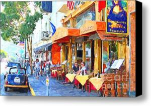 Limited Time Offer . San Francisco North Beach Outdoor Dining . Gliclee Print On Canvas . By Wingsdomain.com Art And Photography