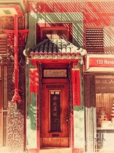 Chinatown Door . Retro Style Photo . By Wingsdomain.com